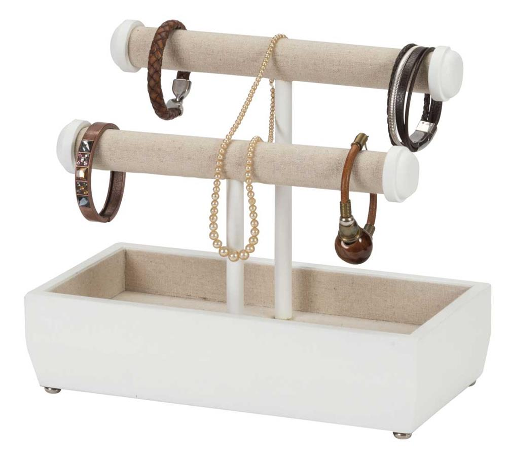 Marissa white double t bar jewellery stand