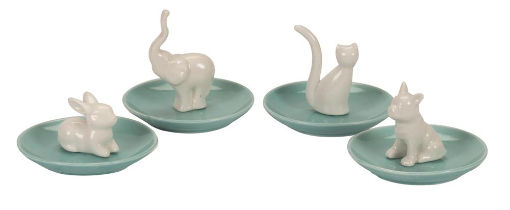 Set of 4 animal ceramic jewellery trays