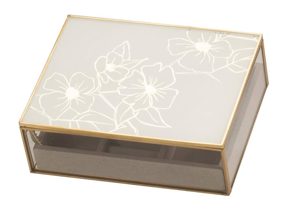 New - Sabrina White Floral glass jewel case