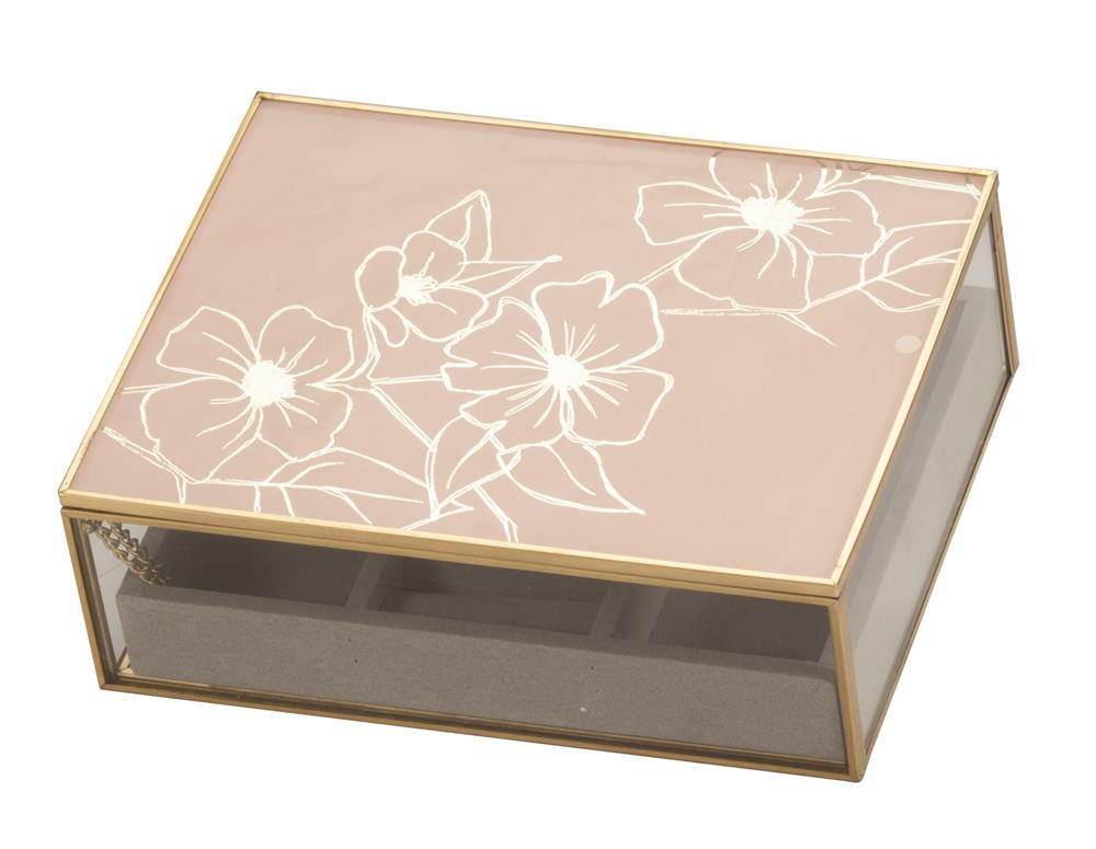 New - Lydia Pink Floral glass jewel case
