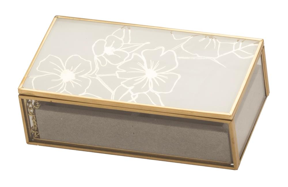 New - Becca White Floral glass small jewel case