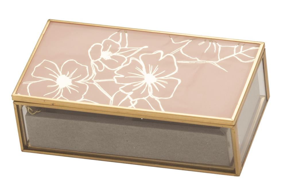New - Liana Pink Floral glass jewel case