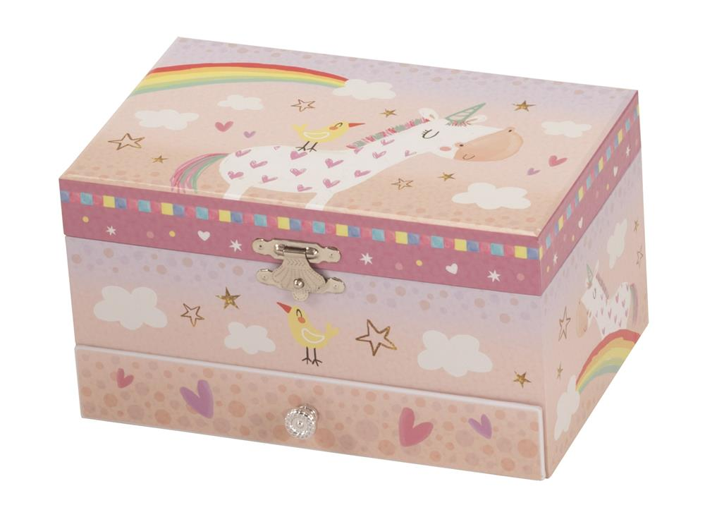 New - Aponi Rainbow Unicorn Musical Jewellery Box