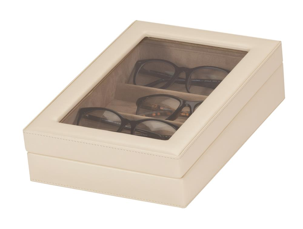 Adele Ivory Faux leather Glasses case