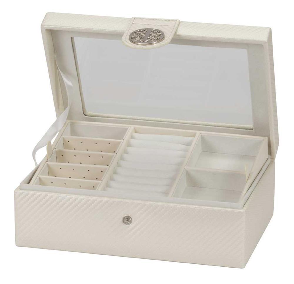 Talia ivory carbon fibre effect pu jewel case